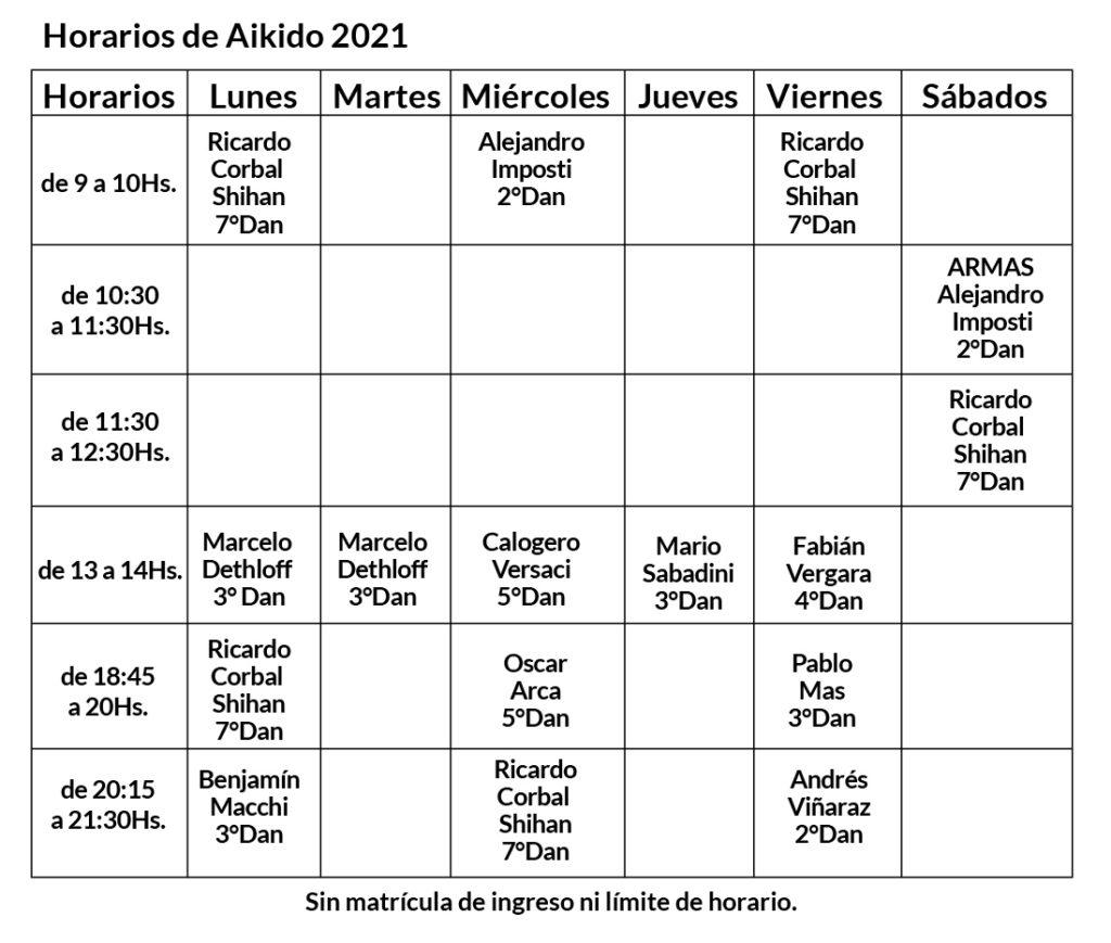 Horarios Aikido 2021